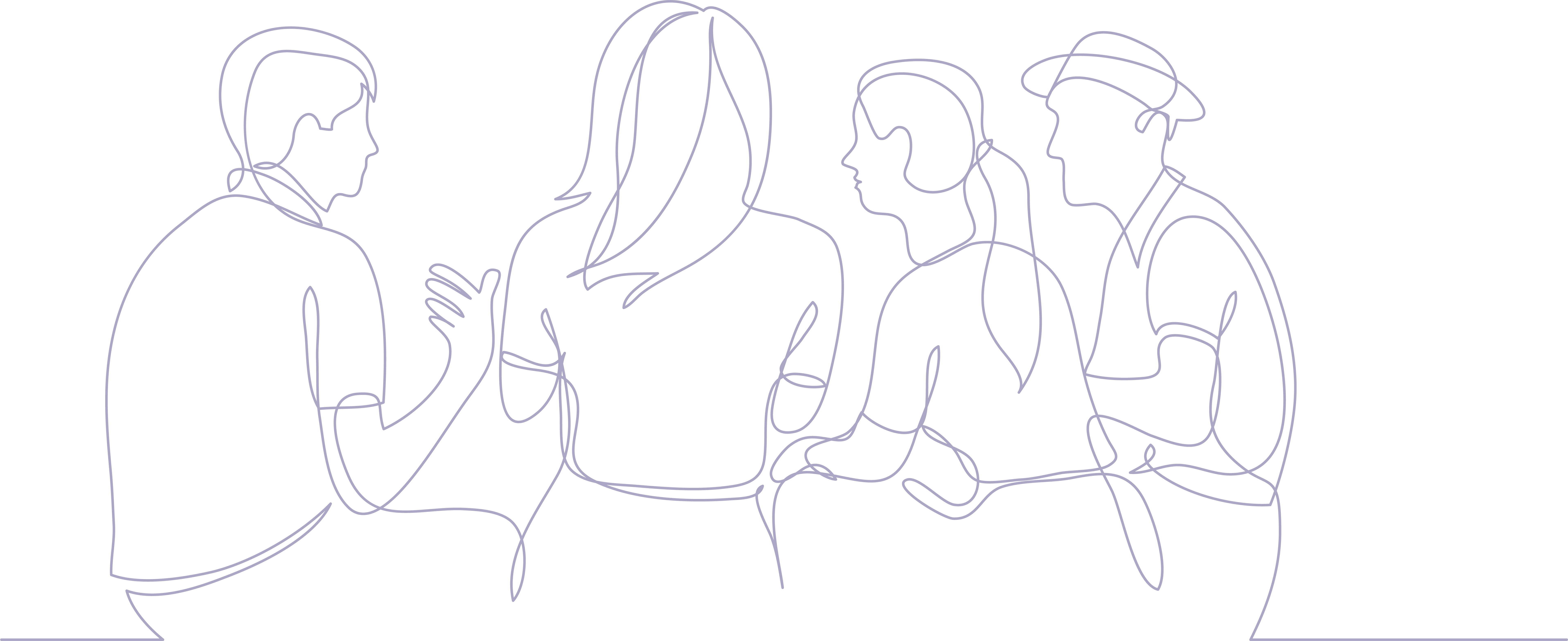 Illustration of friends telling stories
